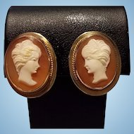 14K Gold Goddess Juno Shell Cameo Earrings Non Pierced Screwbacks