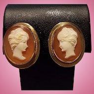 14K Gold Goddess Juno Shell Cameo Earrings Non Pierced Screwbacks