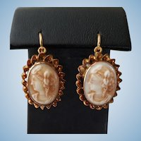 Victorian 14K Gold Milk Glass Cameo Earrings Original Pierced Wires