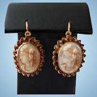 Antique Victorian 14K Pressed Milk Glass Cameo Earrings