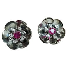 Art Deco 18K White Gold Natural Ruby & Diamond Floral Earrings Pierced Omega Clips