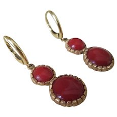 Spectacular Art Deco 18K Gold Dark Oxblood Red Coral Cabochon Earrings