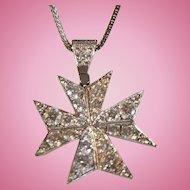 Extraordinary 18K White Gold Diamond Maltese Cross Pendant Necklace 15.7 grams