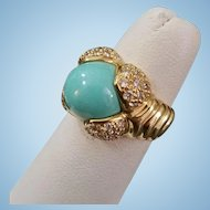 Fine Italian 18K Turquoise Cabochon and Diamond Ring - 11.1 grams