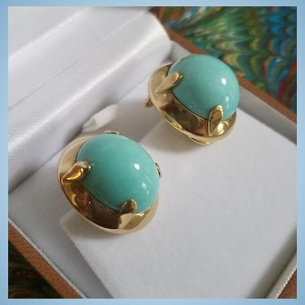18K Sleeping Beauty Turquoise Cabochon Earrings Pierced Omega Clips 26.2 grams