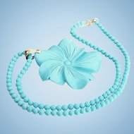Large 18K Carved Sleeping Beauty Turquoise Floral Pendant and Bead Necklace