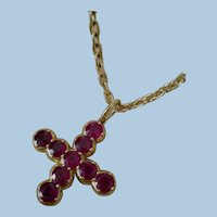 """Glorious 2"""" 18K Gold Ruby 14.4ct Cross & 18K Gold Chain - 44.6 grams"""