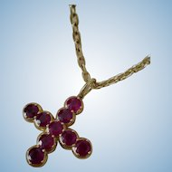 """Glorious 18K Gold Natural Ruby 14.4ct Gemstone 2"""" Cross & 18K Gold Chain - 44.6 grams"""