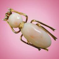 Mid Century 18K Gold Coral Grasshopper Brooch 11 grams