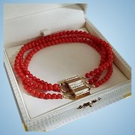 Magic 14K Gold Natural Red Coral Bead Convertible Triple Strand Bracelet