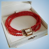 Magic 14K Gold Natural Red Coral Bead Convertible Triple Strand Bracelet 18.2 gr
