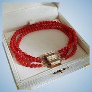 Magic 14K Gold Natural Red Coral Bead Convertible Triple Strand Bracelet 18.2 gr