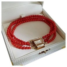 Magic 14K Gold Natural Red Coral Bead Convertible Triple Strand Bracelet