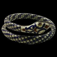 Exquisite Egyptian Revival Enamel & 900 Silver Snake Serpent Bracelet