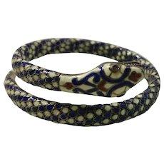 Exquisite Egyptian Revival Enamel & 900 Silver Snake Serpent Bracelet