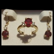 Elegant 18K Ruby & Diamond Ring & 18K/14K Drop Earrings