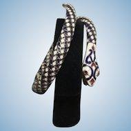 Extraordinary Egyptian Revival Coiled Snake Enamel & 900 Silver Bracelet