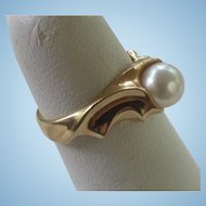 Chic 14K Gold 7mm Genuine Akoya Cultured Pearl Ring
