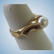 FREE SHIPPING 14K Gold Solitaire 7mm Akoya Cultured Pearl Ring