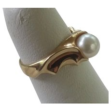 Chic 14K Gold 7mm Akoya Cultured Pearl Ring