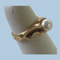Unique 14K Gold Solitaire 7mm Akoya Cultured Pearl Ring