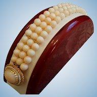 14K Gold Triple Strand Blush Coral 7.2mm  Bead & Seed Pearl Bracelet