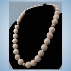 Gorgeous 14K Gold Natural White Angel Skin Coral 13-14mm Bead Necklace