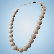 Gorgeous 14K Gold White Angel Skin Coral 13-14mm Bead Necklace