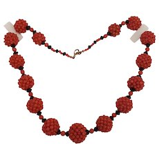 SALE Woven Red Coral 13,5-17mm Bead & Black Jet Necklace