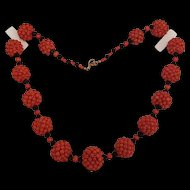 SALE Woven Red Coral Bead & Black Jet Bead Necklace