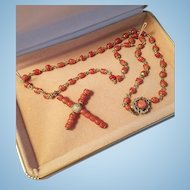 """1930's Rolled Gold 1-3/4"""" Coral Bead Cross and Bead Station Link Necklace"""