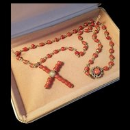 "1930's Rolled Gold 1-3/4"" Coral Bead Cross and Bead Station Link Necklace"