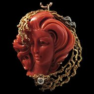 Sultry 18K Gold Coral Full Face Cameo & Diamond Brooch Pendant 23.3 grams