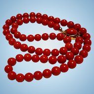 1970's 18K Gold Mediterranean Red Coral 7mm Bead Necklace Cabochon Clasp - 34.6 grams