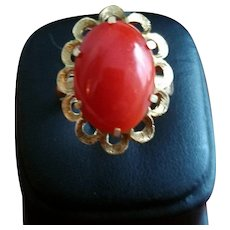 Elegant 16K Gold Red Coral Cabochon Ring - 7-3/4