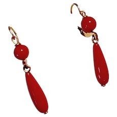 Sweet 18K Yellow Gold Red Coral Pendant Drop Earrings