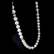 "Spring Splash 34.5"" 14K Yellow Gold Endless White Coral Bead Necklace - 142.8 grams"