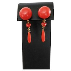 Victorian Beauties 12ct Gold Coral Button & Torpedo Drop Earrings Pierced posts