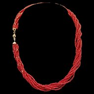 Italian 18K Red Coral Bead Torsade - 32.4 grams