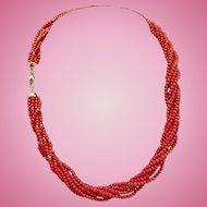 Italian 18K Red Coral Bead Torsade - 32.4 grams