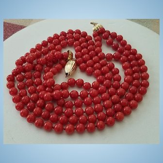 Marvelous Triple Strand 18K Gold Sardinian Red Coral Bead Necklace