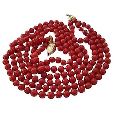 Marvelous Triple Strand 18K Gold Sardinian Red Coral Bead Necklace 72.4 grams