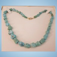 "Beautiful 18"" Turquoise Nugget Bead Necklace"