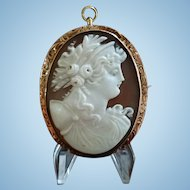 Edwardian 10K Rose Gold Shell Cameo Goddess Hera Brooch Pendant