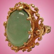 14K Gold Jade Cabochon Ring - 8.3 grams