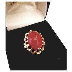 18K Gold Sardinian Red Coral Cabochon Ring  7-3/4