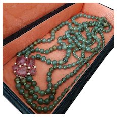 GIA Certified 306.4 gr 14K Gold Natural Jade Bead Triple Strand Necklace Tourmaline & Pearl Clasp