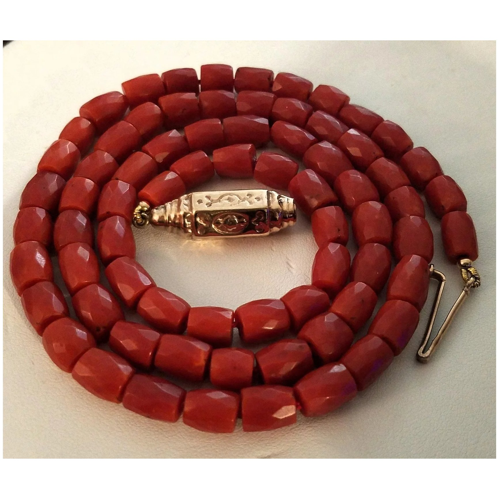 Red Gold Necklace Natural Coral Beaded Long Gemstone Necklace Artisan Jewelry Natural Stone Art Deco Statement Necklace  Gifts for Mom