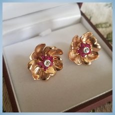 14K Rose Gold Natural Ruby & Diamond Floral Pierced Earrings 9.7 grams