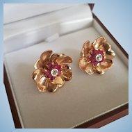 14K Rose Gold Natural Ruby & Diamond Floral Pierced Earrings 9.7 grams